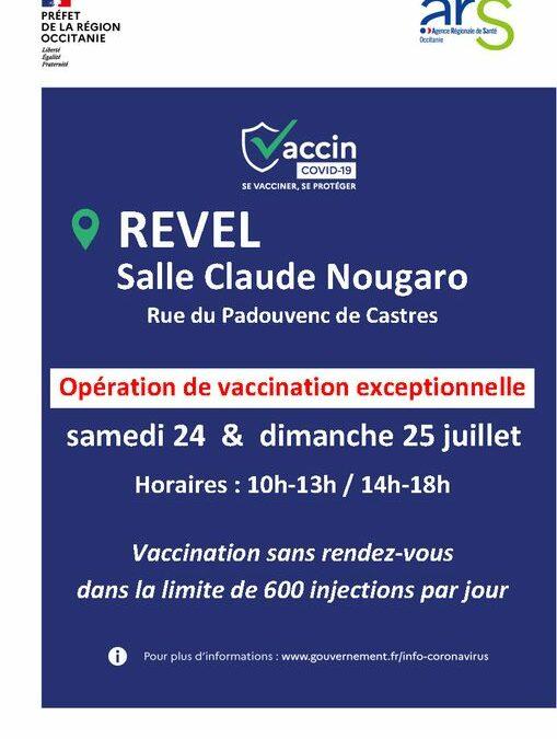 Opération de vaccination à Revel – 24 & 25 juillet